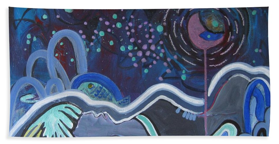 Abstract Paintings Hand Towel featuring the painting Read My Mind5 by Seon-Jeong Kim