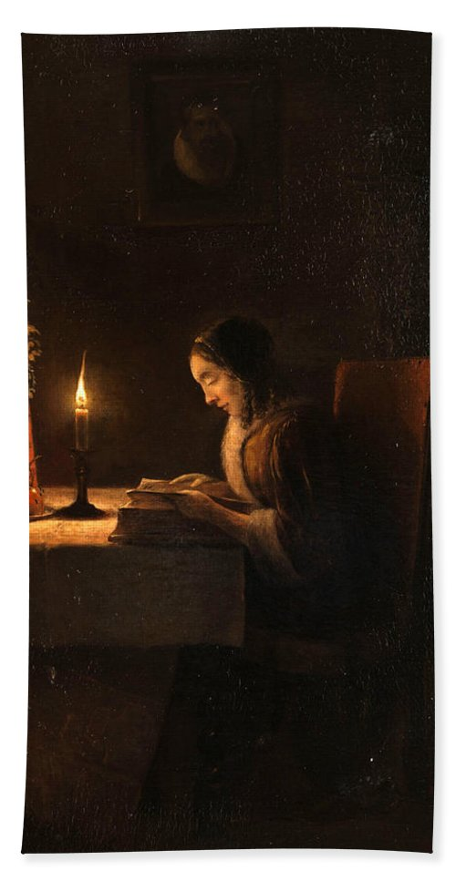 Attributed To Petrus Van Schendel Bath Sheet featuring the painting Reading By Candlelight by Attributed to Petrus van Schendel