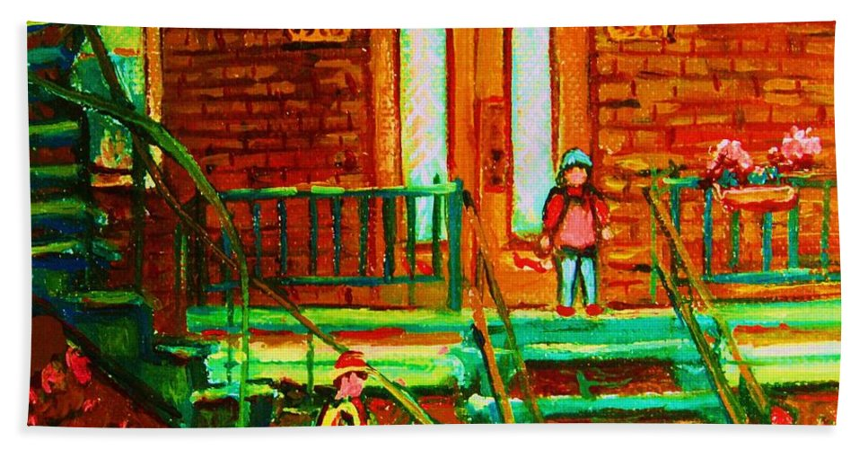 Stairways Hand Towel featuring the painting Reading On The Steps by Carole Spandau