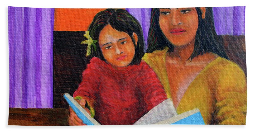 Mother Hand Towel featuring the painting Reading With Mom by Cyril Maza