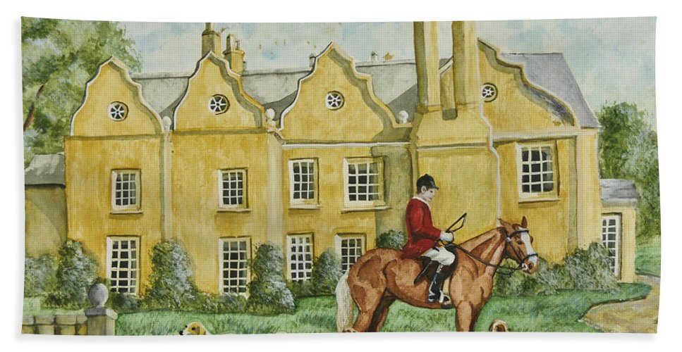 English Manor Home Hand Towel featuring the painting Ready For The Hunt by Charlotte Blanchard