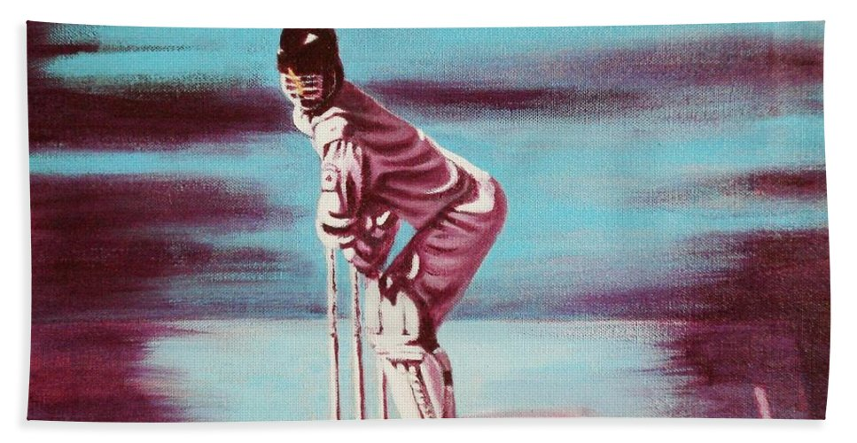 Bath Towel featuring the painting Ready To Bat by Usha Shantharam