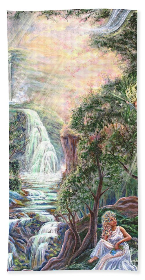 Spiritual Hand Towel featuring the painting Ready To Fly by Joyce Jackson