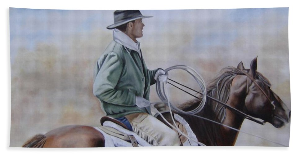 Ranch Bath Sheet featuring the painting Ready To Rope by Mary Rogers