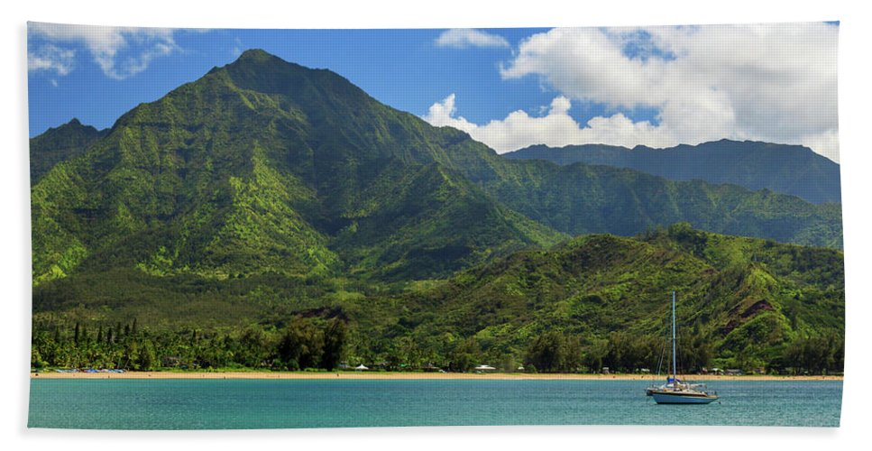 Sailboat Bath Sheet featuring the photograph Ready To Sail In Hanalei Bay by James Eddy