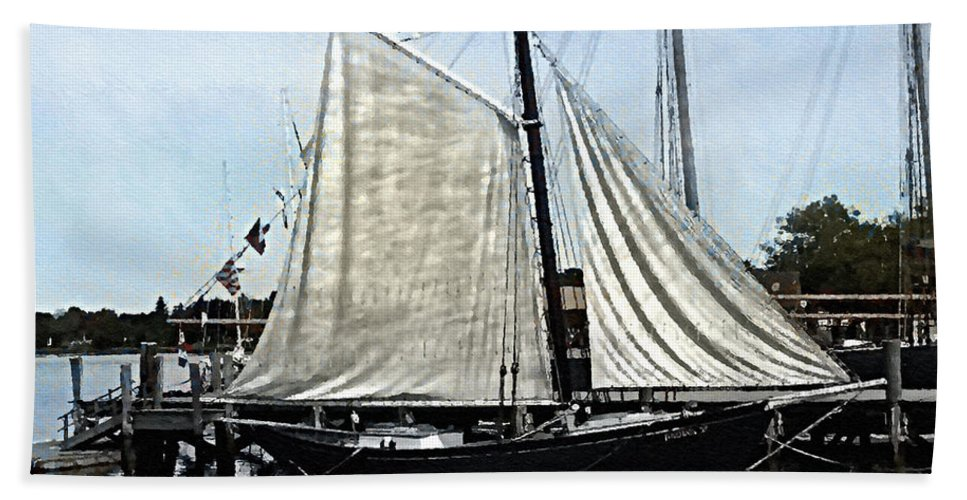 Antique Bath Sheet featuring the painting Ready To Sail by RC DeWinter