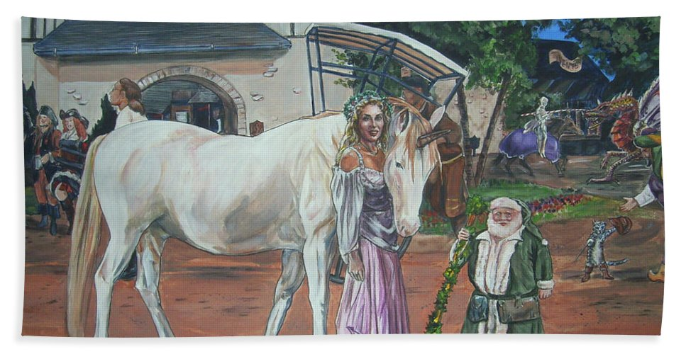 Renaissance Bath Towel featuring the painting Real Life In Her Dreams by Bryan Bustard