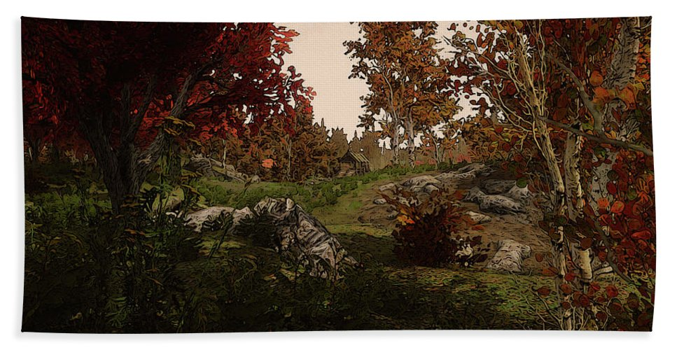 Path Into The Forest Bath Sheet featuring the painting Realm Of Nature by Andrea Mazzocchetti