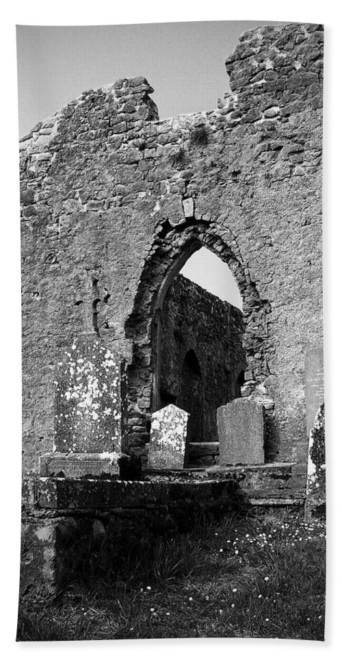 Ireland Bath Towel featuring the photograph Rear Entrance Fuerty Church Roscommon Ireland by Teresa Mucha