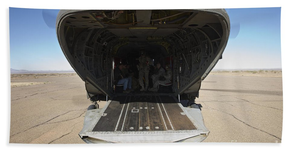 Exercise Angel Thunder Bath Sheet featuring the photograph Rear Platform Of A Ch-47 Chinook by Terry Moore