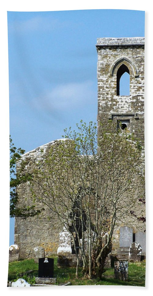 Fuerty Hand Towel featuring the photograph Rear View Fuerty Church and Cemetery Roscommon Ireland by Teresa Mucha