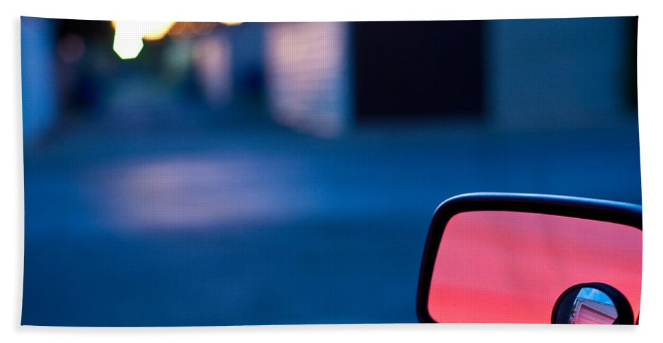 Car Mirror Hand Towel featuring the photograph Rearview Mirror by Steven Dunn