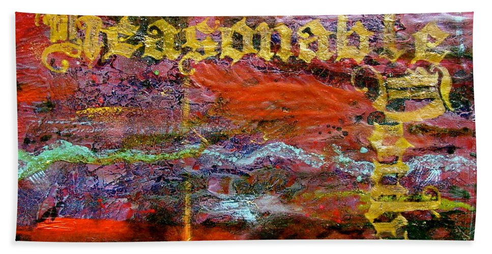 Abstract Art Hand Towel featuring the painting Reasonable Doubt by Laura Pierre-Louis