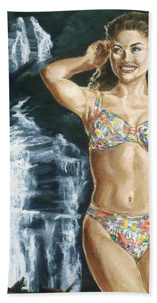 Rebecca Gayheart Bath Sheet featuring the painting Rebecca Gayheart by Bryan Bustard