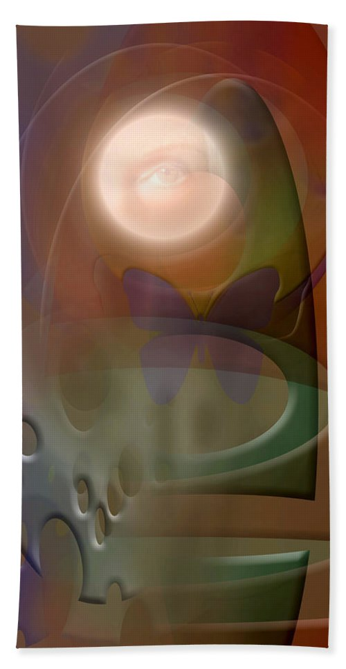 Abstract Bath Sheet featuring the digital art Rebirth by Stephen Lucas