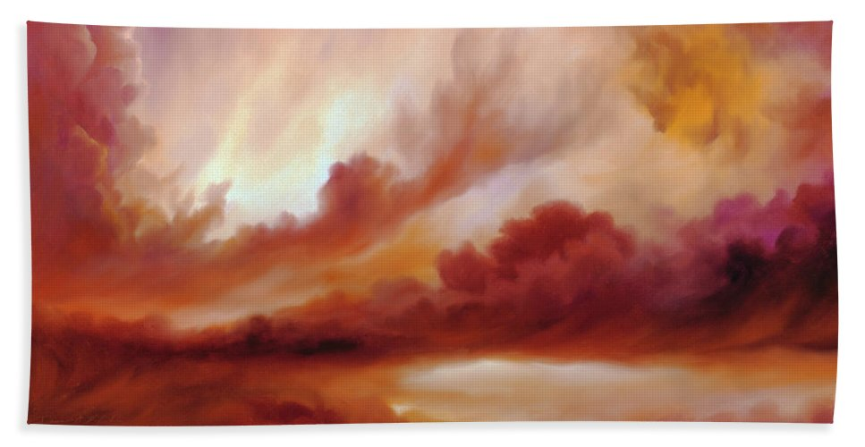 Skyscape Hand Towel featuring the painting Receding Storm Sketch IIi by James Christopher Hill