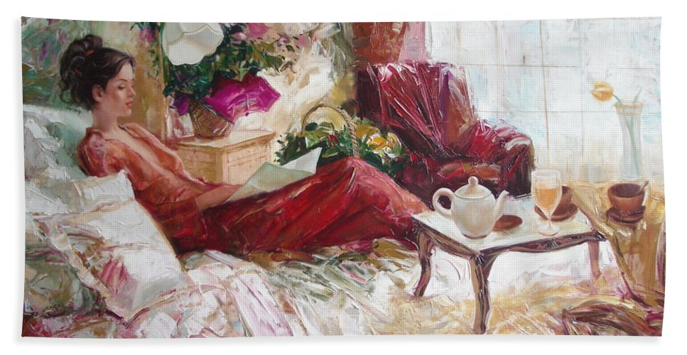 Art Bath Towel featuring the painting Recent News by Sergey Ignatenko
