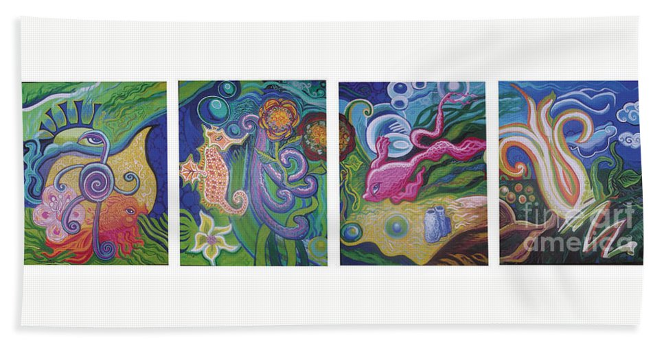 Reciprocal Liason Of The Sea Hand Towel featuring the painting Reciprocal Liason Of The Sea by Genevieve Esson