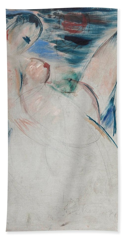 Wilhelm Lehmbruck Bath Sheet featuring the painting Reclining Female Nude by Wilhelm Lehmbruck