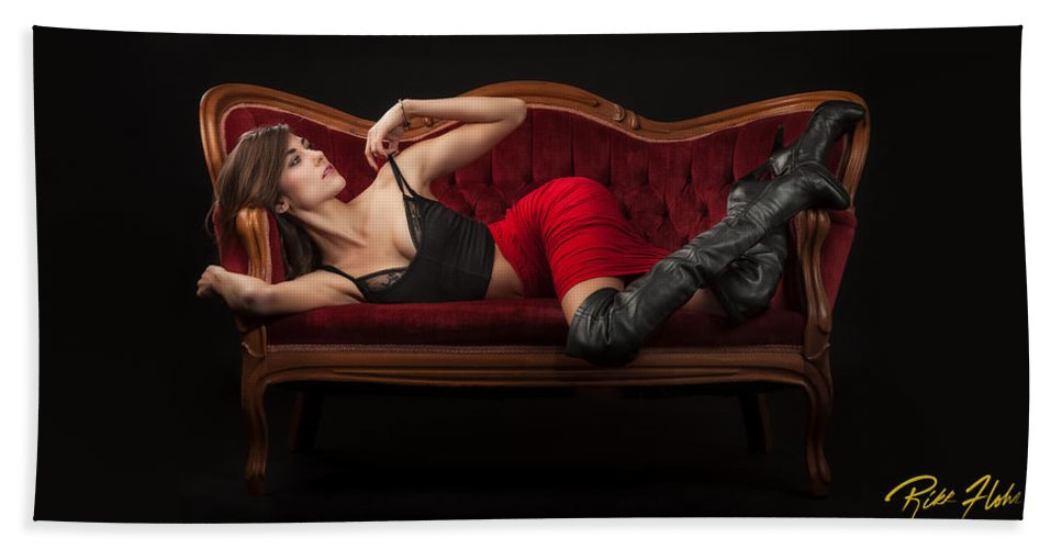 Models Hand Towel featuring the photograph Reclining Hannah by Rikk Flohr