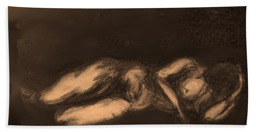 Nude Hand Towel featuring the drawing Reclining by Ian MacDonald