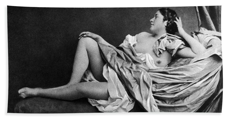 1859 Hand Towel featuring the photograph Reclining Nude, 1859 by Granger