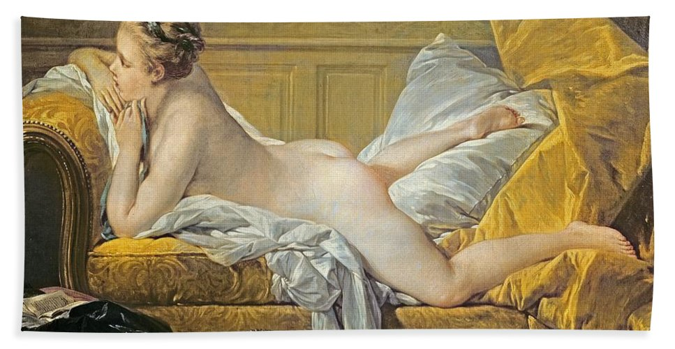 Reclining Nude (miss O'murphy) (oil On Canvas) By Francois Boucher (1703-70) Hand Towel featuring the painting Reclining Nude by Francois Boucher