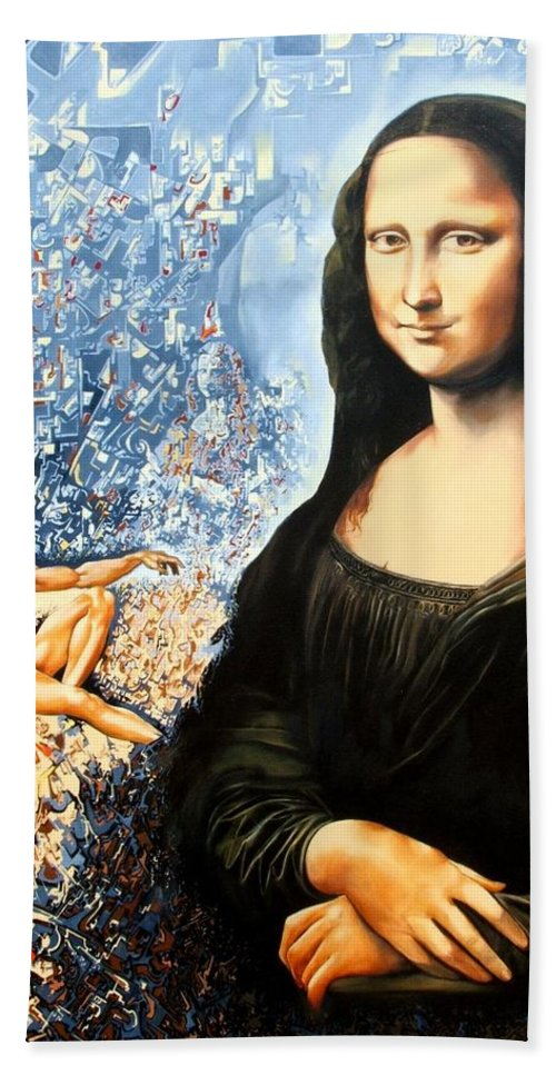 Surrealism Hand Towel featuring the painting Reconstruction Of High Renaissance by Darwin Leon