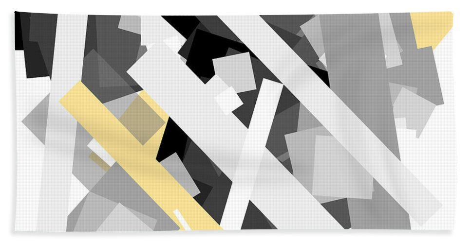 Yellow Hand Towel featuring the digital art Rectangles With Yellow Accent by Ewelina Karbownik