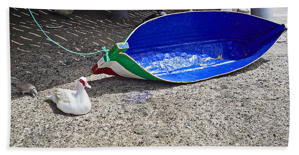 Boat Hand Towel featuring the photograph Recycled Oil Drum On Hard by Charles Stuart