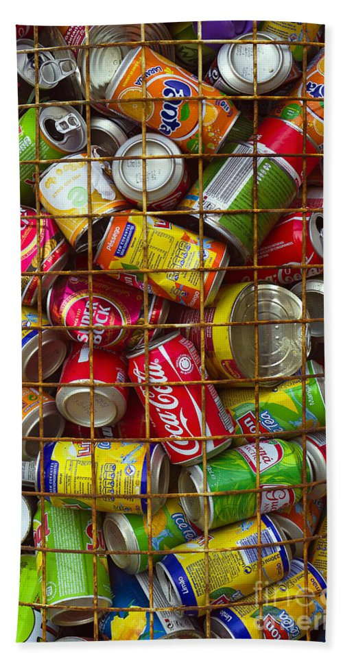 Abstract Bath Sheet featuring the photograph Recycling Cans by Carlos Caetano