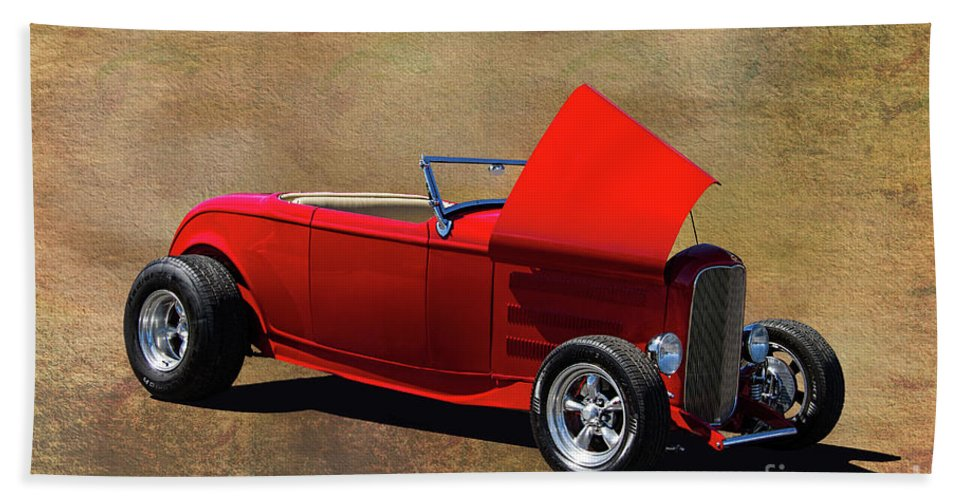 1932 Bath Sheet featuring the photograph Red 1932 Ford Hot Rod by Nick Gray