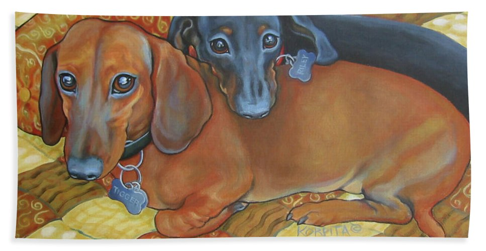Red And Black Dachshunds Bath Sheet featuring the painting Red And Black Dachshunds - Best Buds by Rebecca Korpita