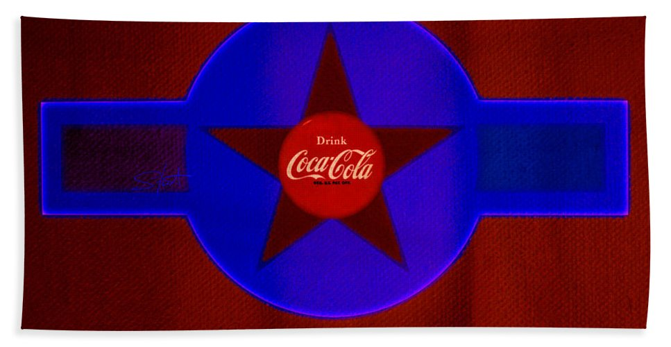 Label Bath Towel featuring the painting Red And Blue by Charles Stuart