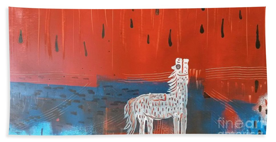 Ink Hand Towel featuring the painting Red And Blue by Jose Luis Montes