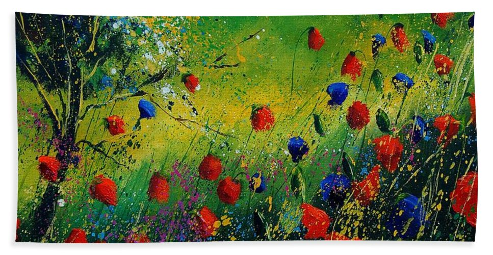 Flowers Hand Towel featuring the painting Red And Blue Poppies 67 1524 by Pol Ledent