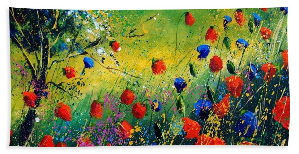Flowers Hand Towel featuring the painting Red And Blue Poppies by Pol Ledent