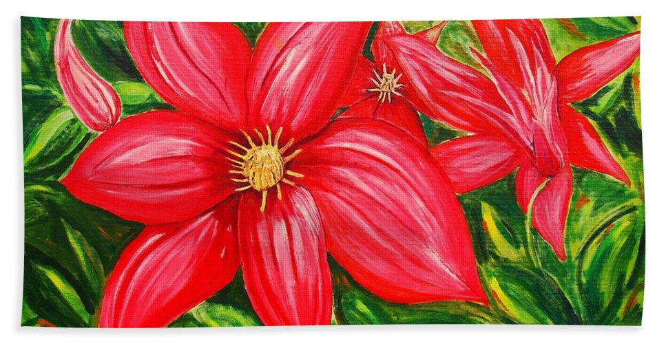 Flower Painting Hand Towel featuring the painting Red and Green by J R Seymour