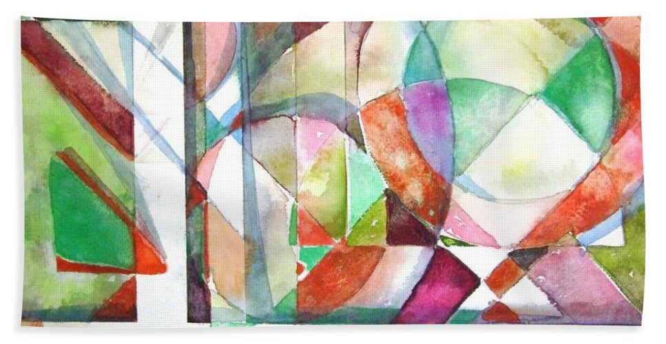Geometric Bath Sheet featuring the painting Red And Green by Mindy Newman