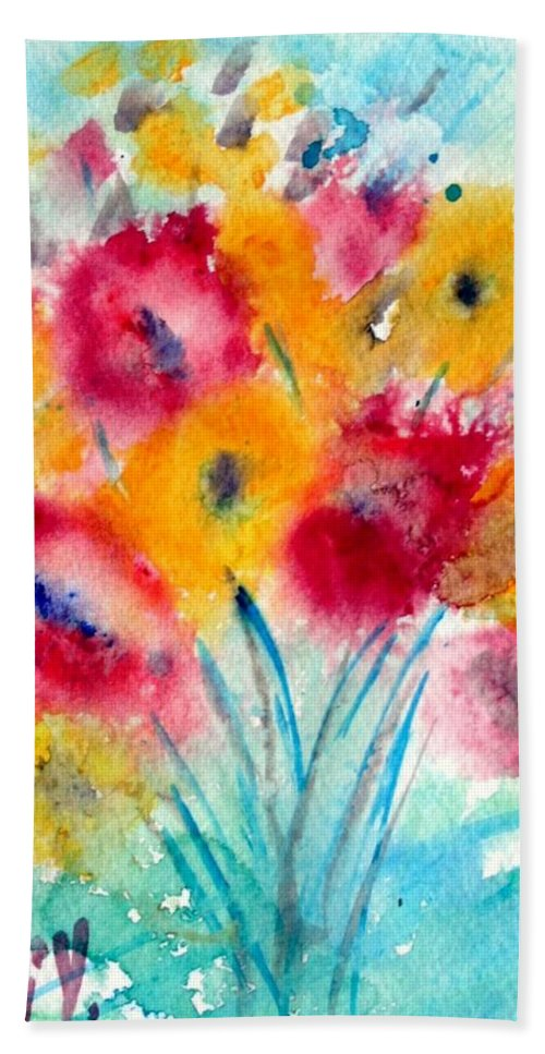 Flowers Hand Towel featuring the painting Red And Yellow Flowers by Luiza Vizoli