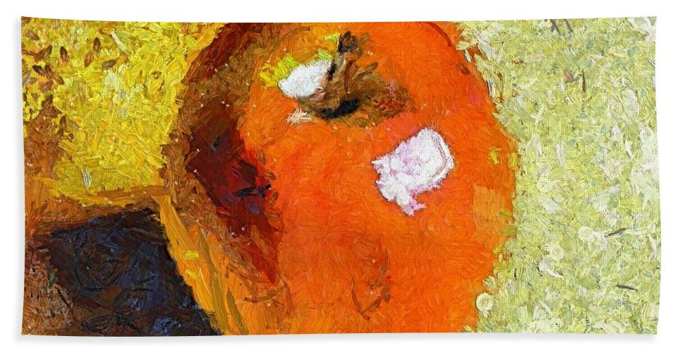 Red Apple Bath Sheet featuring the painting Red Apple by Dragica Micki Fortuna