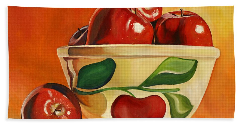 Apples Bath Sheet featuring the painting Red Apples In Vintage Watt Yellowware Bowl by Toni Grote