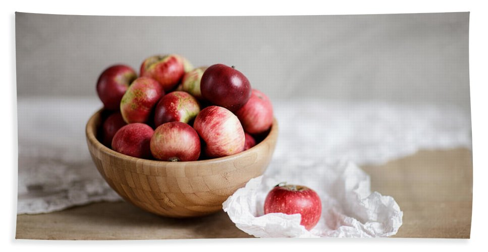 Apple Hand Towel featuring the photograph Red Apples Still Life by Nailia Schwarz