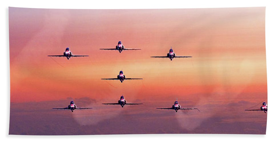 Dawn Bath Sheet featuring the photograph Red Arrows At Dawn by Chris Lord