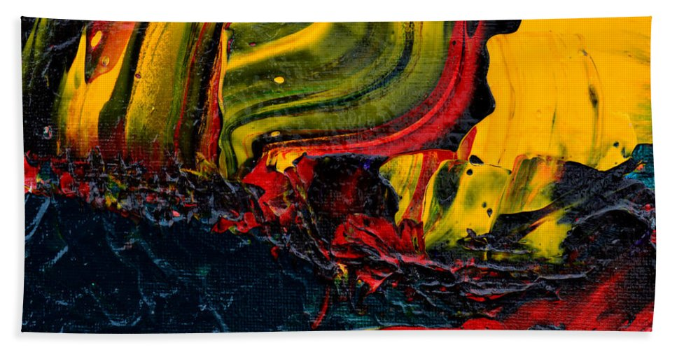 Bold Abstract Bath Sheet featuring the painting Red Balloon In The Storm by Donna Blackhall