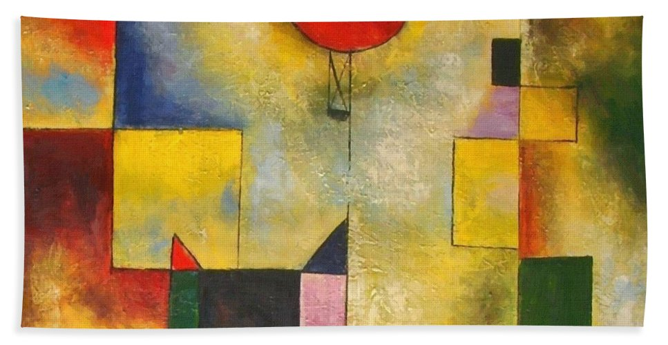 Paul Klee Bath Sheet featuring the painting Red Balloon by Paul Klee
