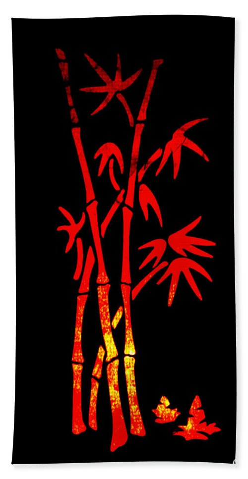 Patzer Hand Towel featuring the photograph Red Bamboo by Greg Patzer