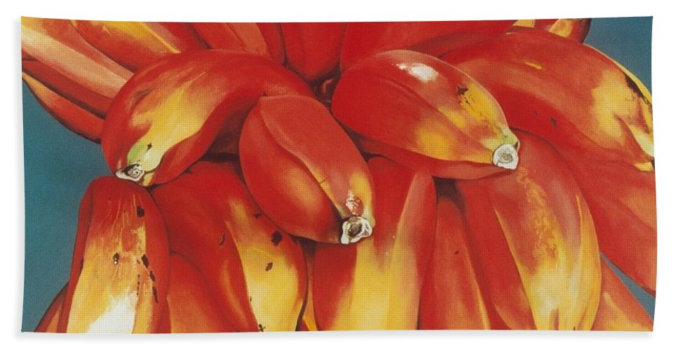 Hyperrealism Bath Sheet featuring the painting Red Bananas Of Jocotepec by Michael Earney