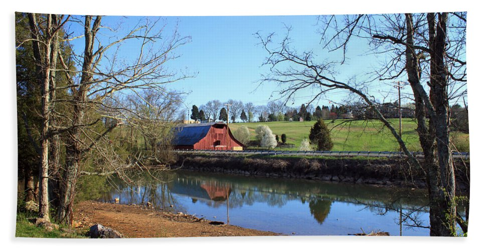 Landscape Bath Sheet featuring the photograph Red Barn And Pond by Todd Blanchard