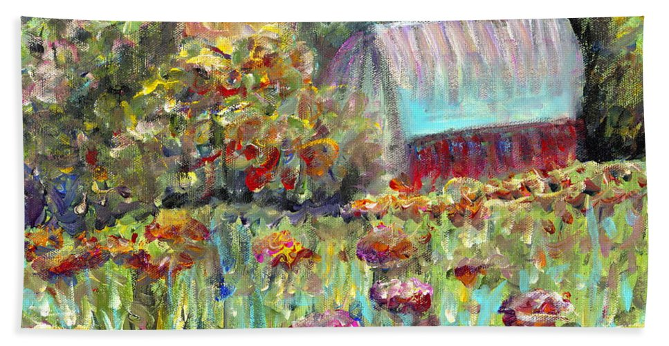 Barn Bath Sheet featuring the painting Red Barn In Summer by Nadine Rippelmeyer